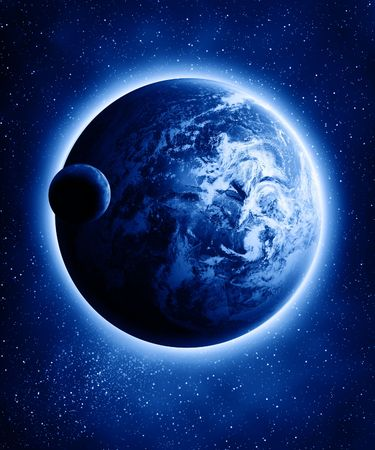 Earth and moon in a dark universe with some stars Stock Photo