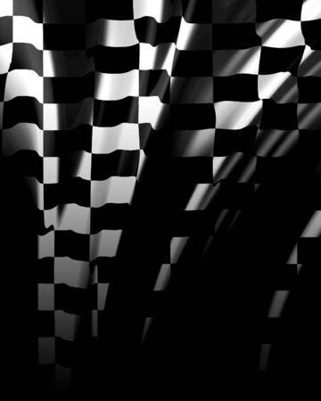 motor race: Geruite vlag zwaaien in de wind met een aantal plooien in het