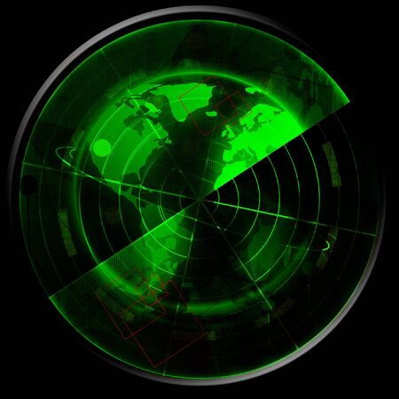 detection: Green radar screen Stock Photo