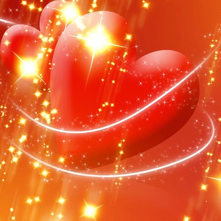 peacefull: Two red hearts surrounded by sparkles on a soft background Stock Photo