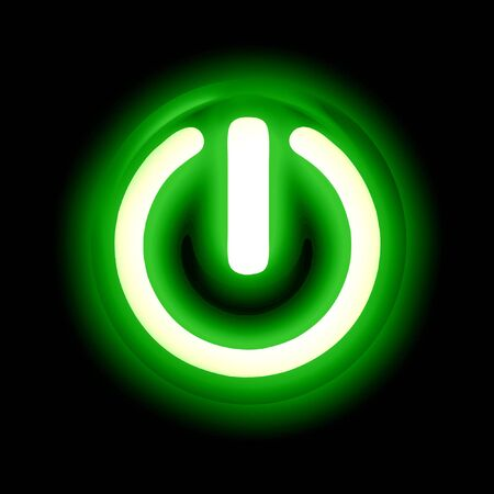 Green glowing power button on a black background