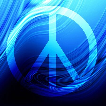 Peace symbol on an abstract flowing blue background Stock Photo - 3497201