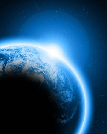 Blue earth in outer space photo