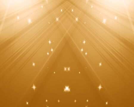 releasing: Stage with golden spotlight and sparkles