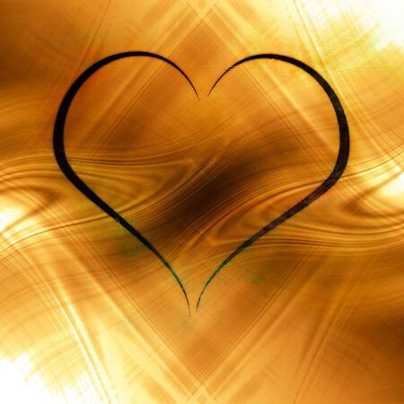 heartache: black heart on a fire like background