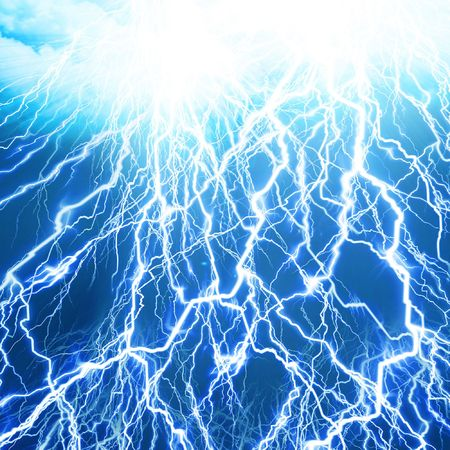 lightning flash on a soft blue background Stock Photo - 3509176