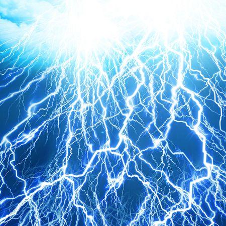 lightning strike: lightning flash on a soft blue background