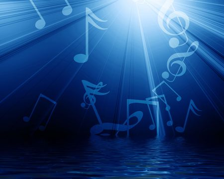 pc tune: musical notes on a dark blue background