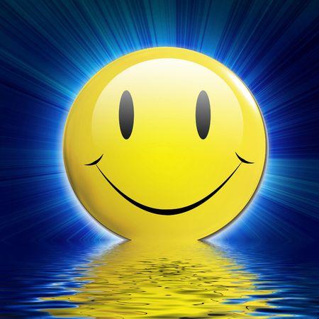 smiley content: smiley happy face sur un fond bleu fonc� avec des rayons Banque d'images