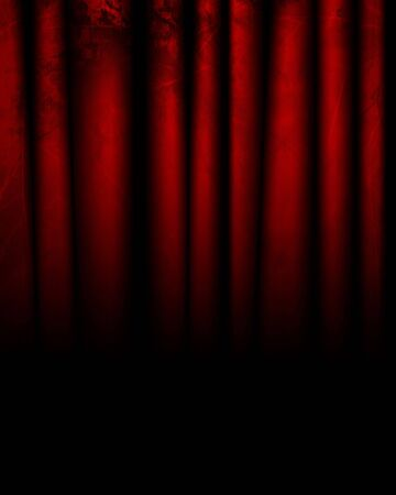 red movie or theater curtain with some folds in it photo