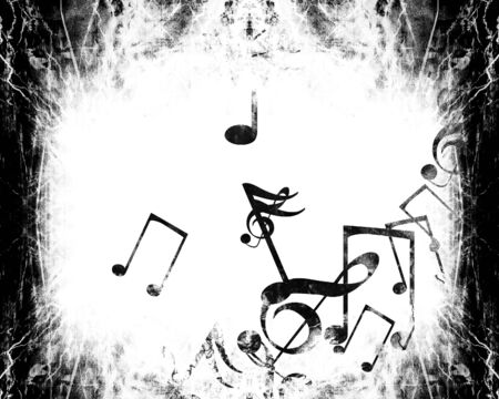 sol: grunge black and white background with music notes