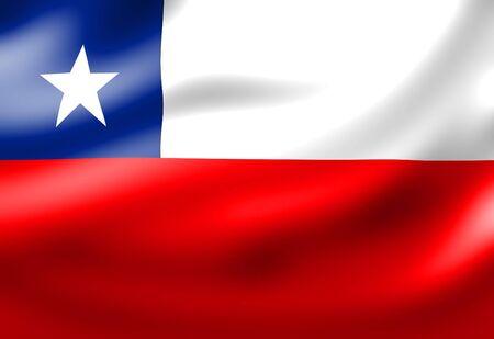 bandera chilena: Chile bandera ondeando en el viento  Foto de archivo