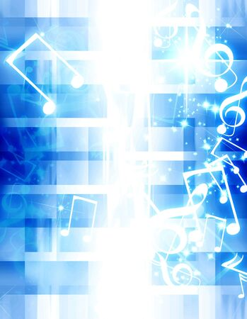 musical notes with sparkles on a blue background Stock Photo - 3524935