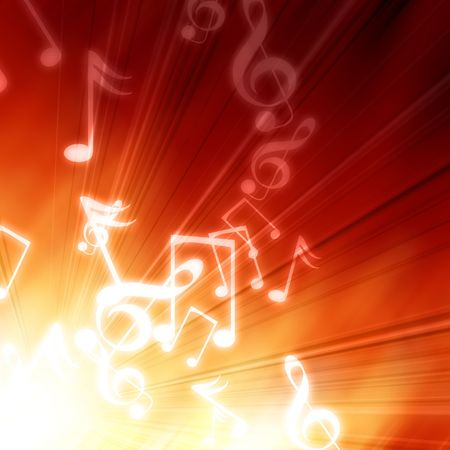music notes on a fire like background photo