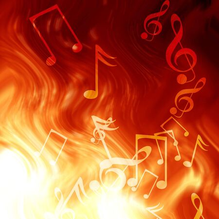 music notes on a fire like background Stock fotó