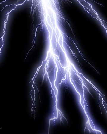 volts: Lightning flash on black background Stock Photo