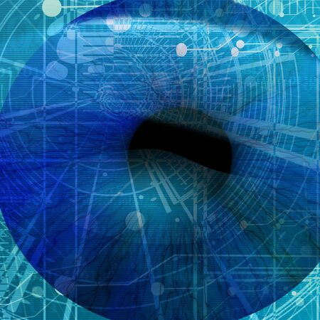 retina scan: eye being scanned by security software: human pupil