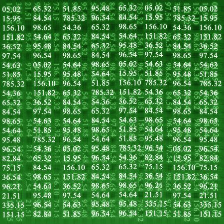 stock numbers on a bright green background Stock Photo - 3525051