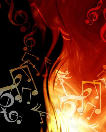 musical event: abstract musical notes on a fire like background
