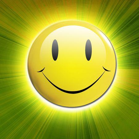 caras felices: feliz cara sonriente sobre un fondo verde brillante