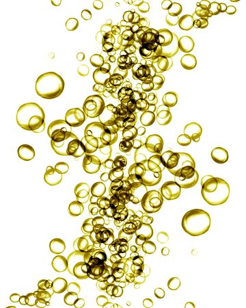 Golden water bubbles on a white background