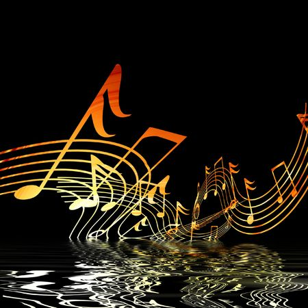 musical notes on a solid black background
