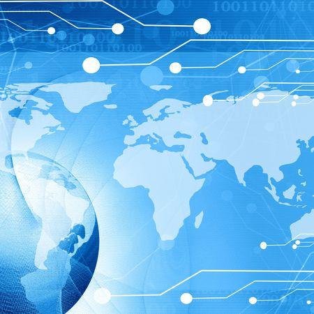 world wide: digital world on a soft blue background