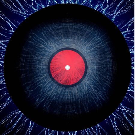 disk jockey: vinyl record on a dark blue background Stock Photo