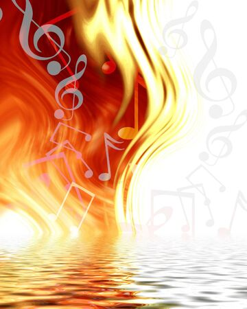 metal music: abstract music notes on a fire like background