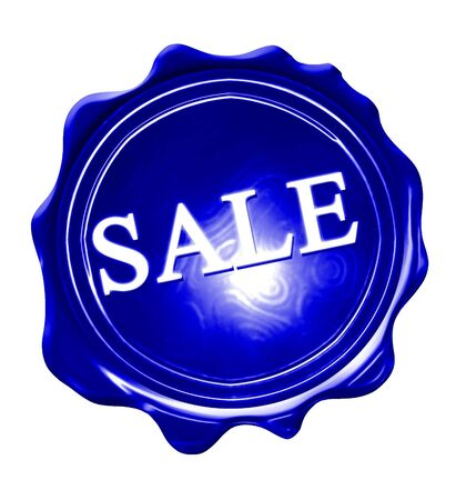 wax sell: blue wax seal with sale written on it