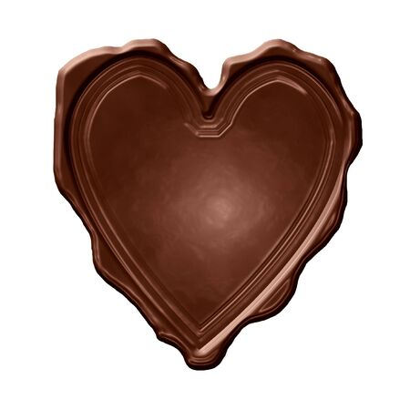 swirling: chocolate heart on a solid white background Stock Photo