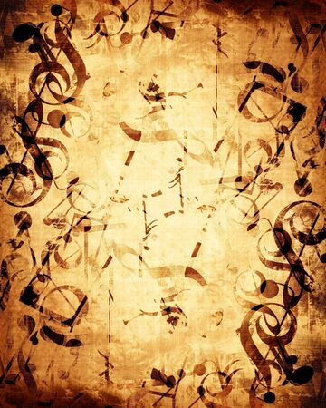 swirling: Old music sheet with musical notes on it