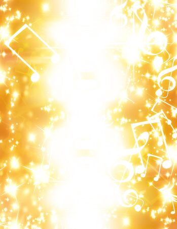 yellow note: musical notes with sparkles on a golden background Stock Photo