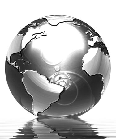 asia globe: silver globe on a solid white background