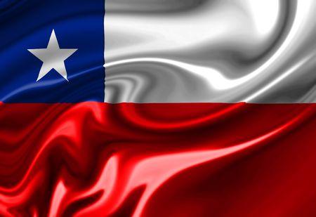 bandera chilena: Bandera chilena flameando en el viento