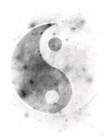 tao: Yin yang symbol on a spotted white background Stock Photo