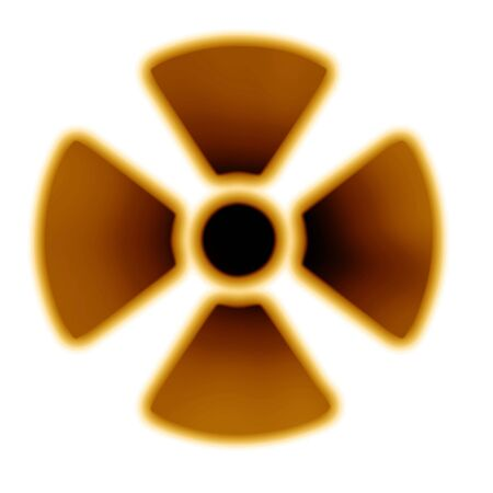 Yellow nuclear warning sign on a white background Stock Photo - 3640031