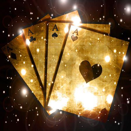 cartas de poker: Mesa de p�quer con el centro de enfoque suave y tarjetas Foto de archivo