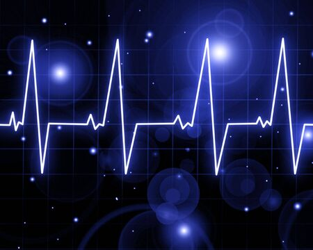Heart beat on heart monitor on black background Stock Photo