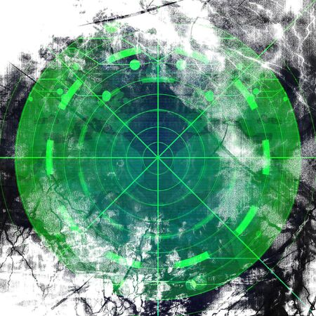 war on terror: grunge green radar screen on a black background Stock Photo
