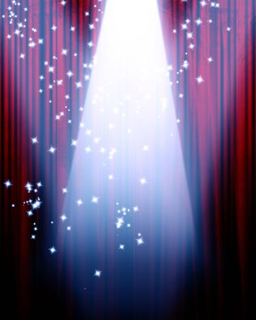 famous writer: red movie or theater curtain with a center spotlight