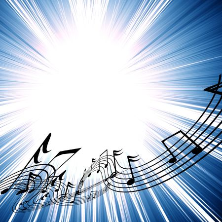 swirling: musical notes on a bright blue background Stock Photo