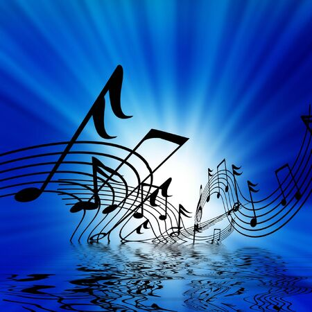 note pc: musical notes on a bright blue background Stock Photo