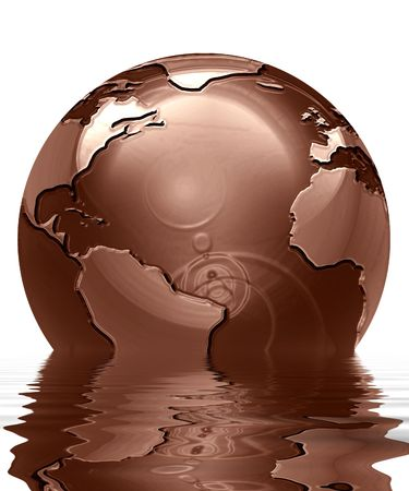 swirling: chocolate globe on a solid white background Stock Photo