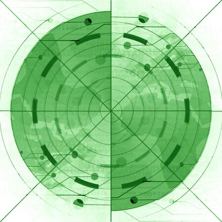 war on terror: green radar screen on a white background