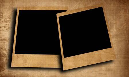 white polaroids: two old polaroids on a white background