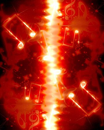 swirling: musical notes on a bright red background with sparkles