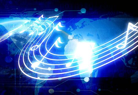 musical notes on a dark technology background photo