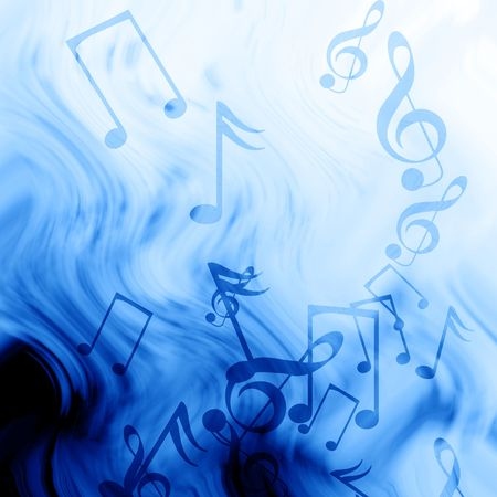 concert lights: music notes on a soft blue background Stock Photo