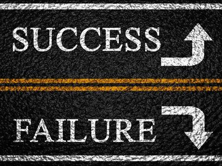 double lane: success or failure on an asphalt background